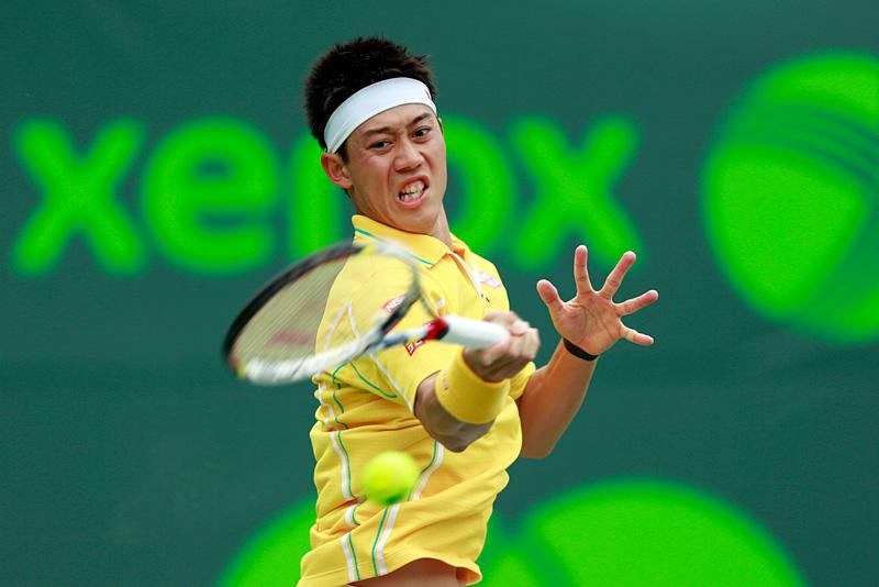 ソニー・オープン4回戦でフェレールと対戦した錦織圭(テニス)