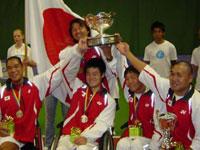 世界大会(スウェーデン)。日本男子チーム(車いすテニス)